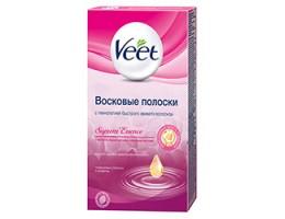 Восковые полоски для депиляции Veet Suprem Essence для чувствительных участков тела