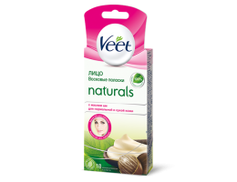 VEET Naturals полоски восковые для лица с маслом ши для нормальной и сухой кожи 20шт.